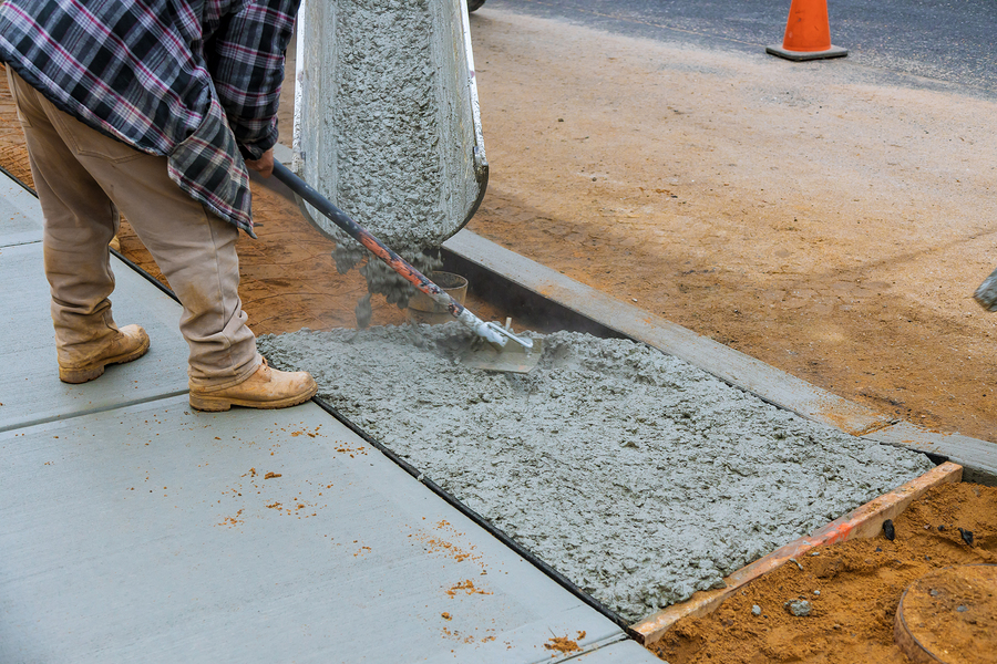 pouring out the cement