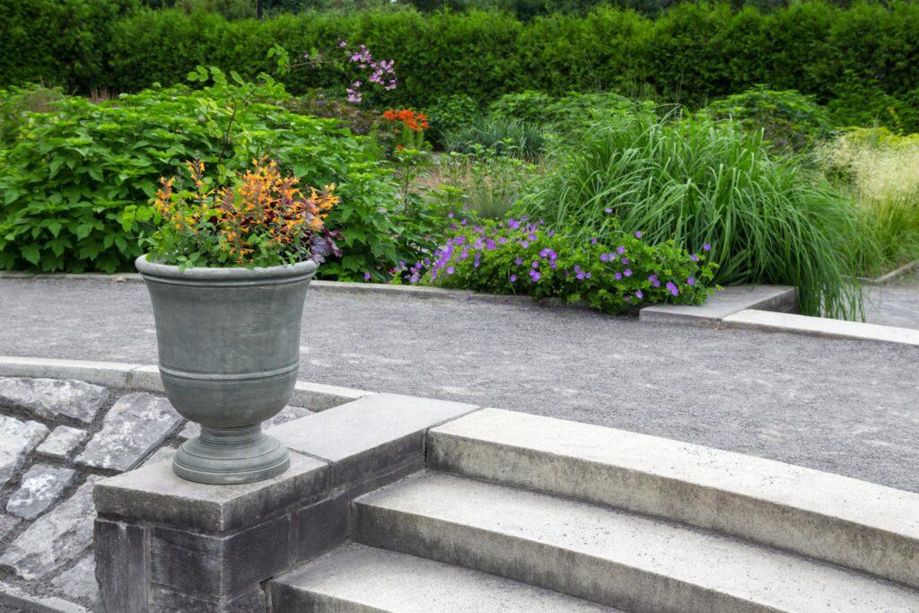 garden with concrete path walk