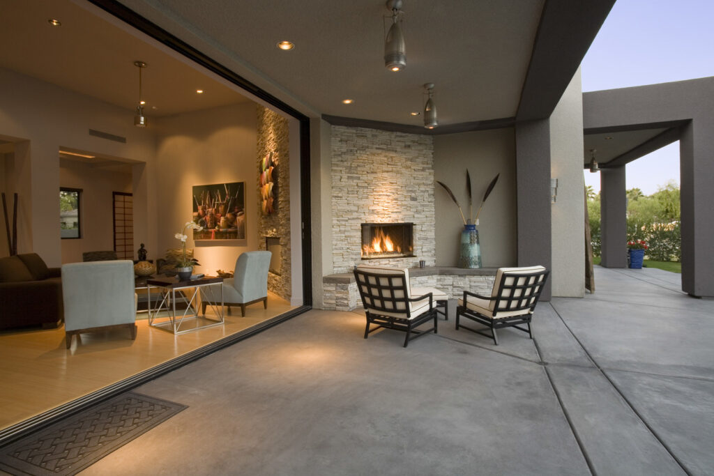 house with outside patio